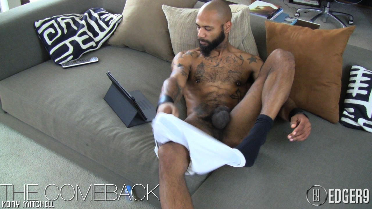 Hairy Tattooed Black Stallion Jerks His Huge Thick Cock ...