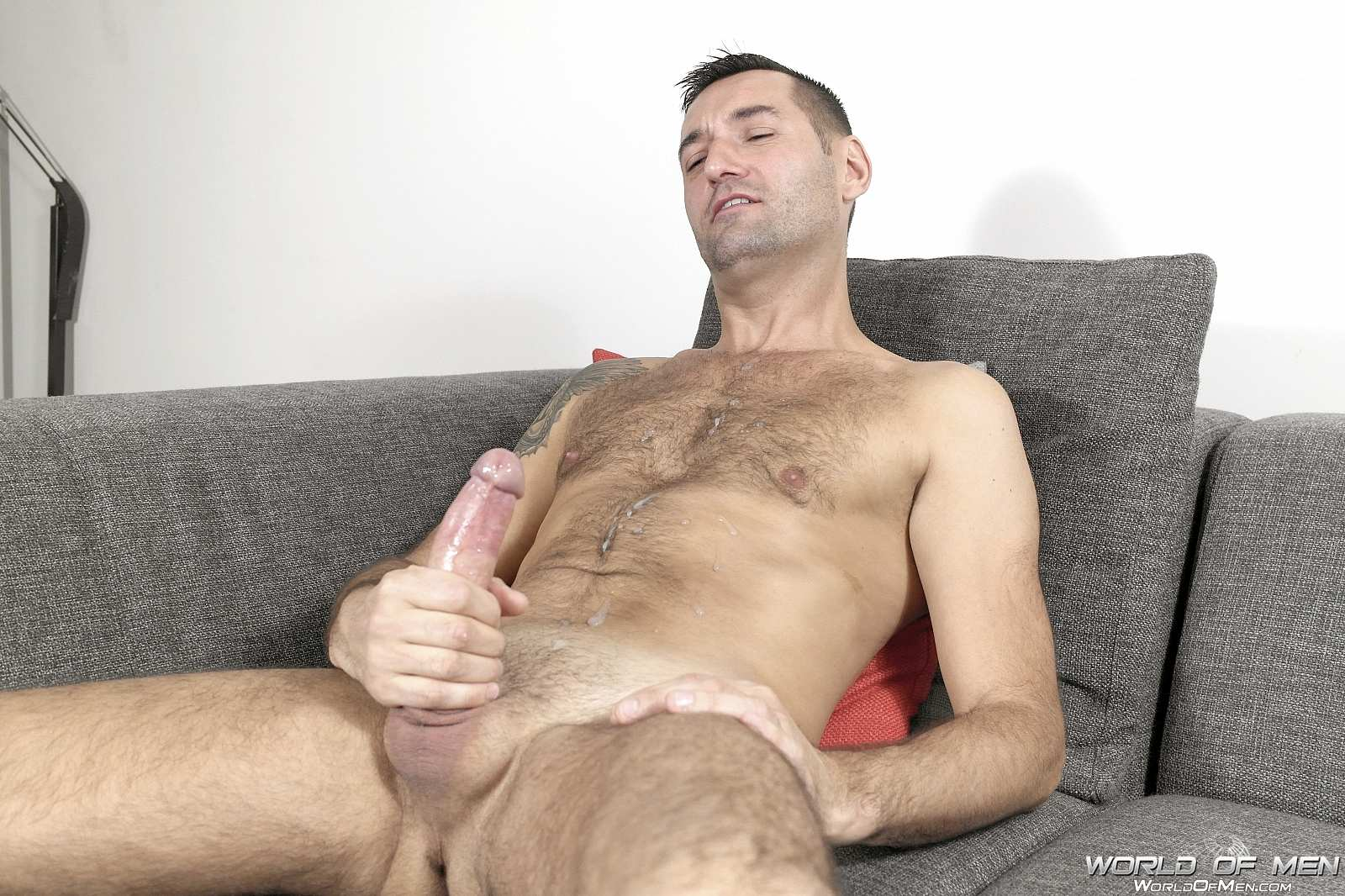image Solo male masturbation on the sofa at home