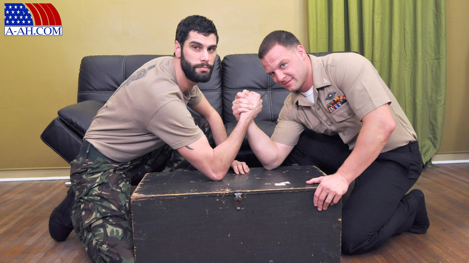 All-American-Heroes-PRIVATE-ANTONIO-AND-NAVY-CORPSMAN-LOGAN-Military-Guys-Sucking-Cock-Amateur-Gay-Porn-01 US Navy Corpsman Trades Blowjobs With A British Army Private