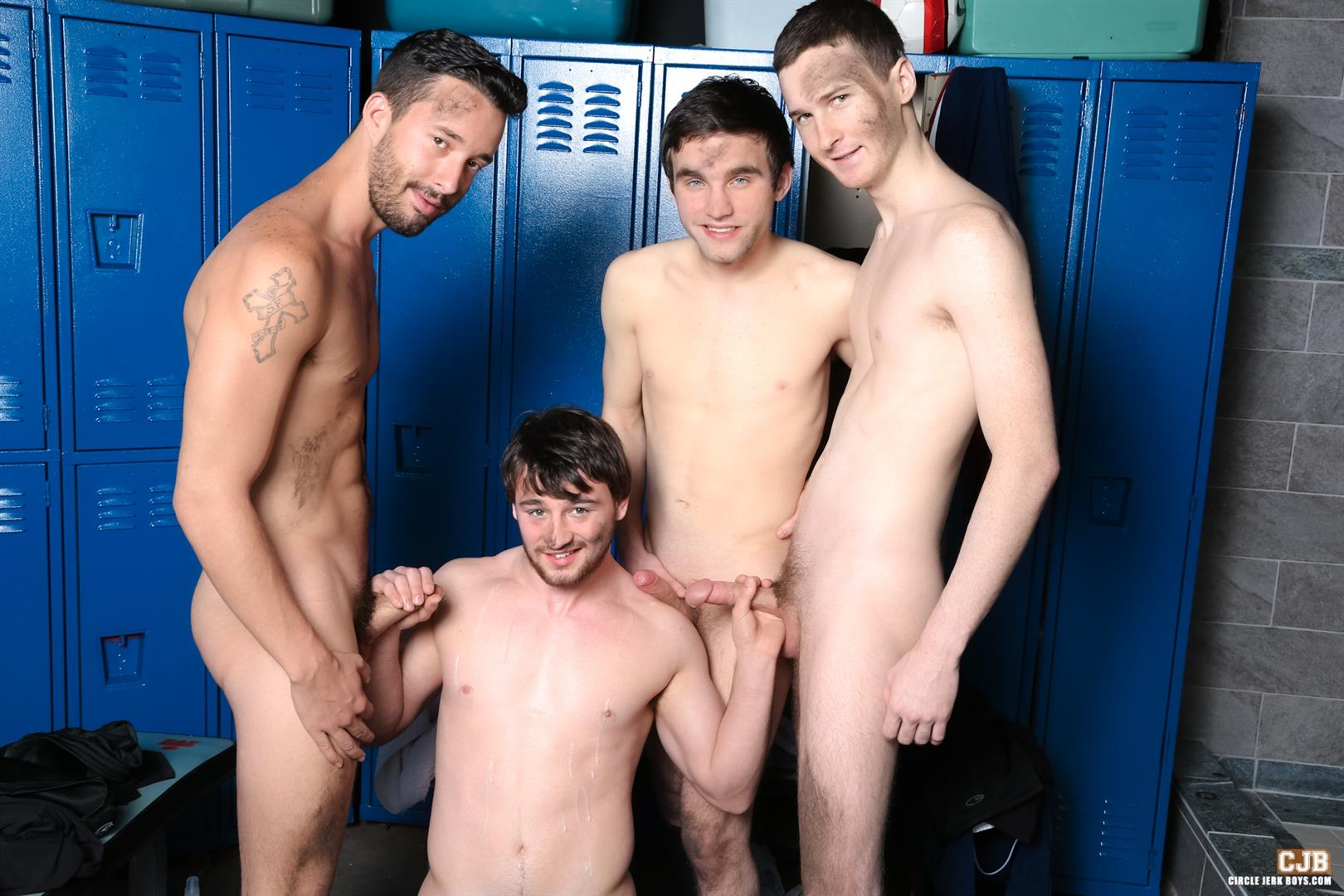Circle Jerk Boys Andrew Collins and Isaac Hardy and Josh Pierce and Scott Harbor Soccer Guys Sucking Cock Amateur Gay Porn 14 After the Game, Soccer Plays Sucking Cock In The Locker Room
