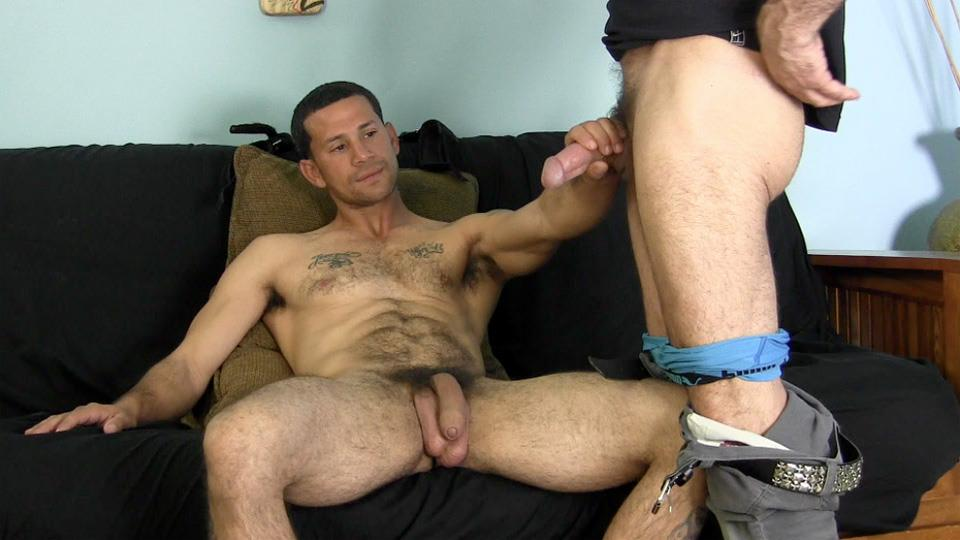 Sucking his first dick