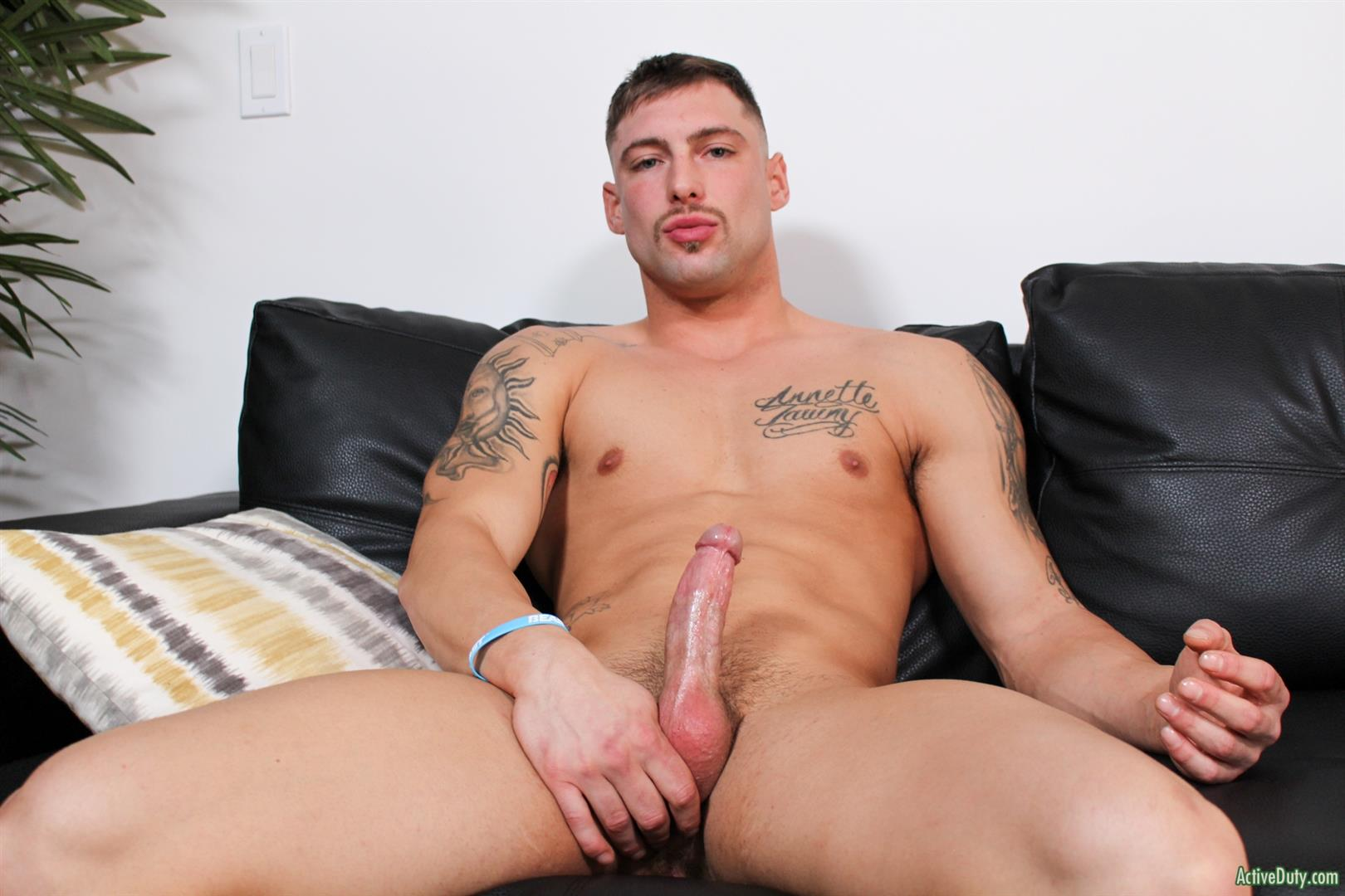 Active-Duty-Calvin-Naked-Muscular-Marine-Jerk-Off-05 Muscular Inked Up Marine Jerks His Big Dick Until He Cums