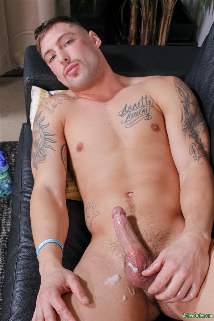 Active-Duty-Calvin-Naked-Muscular-Marine-Jerk-Off-11 Muscular Inked Up Marine Jerks His Big Dick Until He Cums