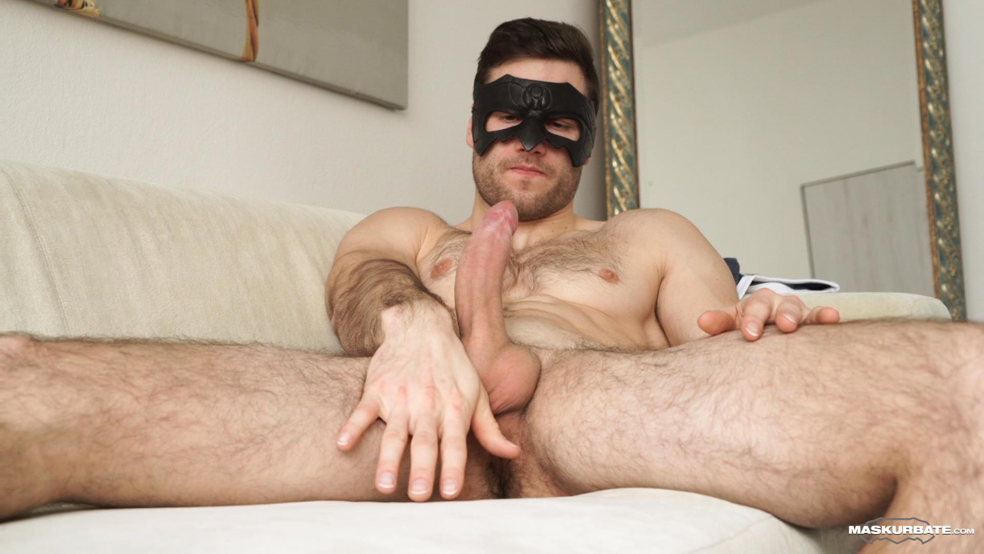 Maskurbate-Sam-Cuthan-Straight-Naked-Hairy-Muscle-Guy-Jerk-off-12 Straight Masked Hairy Muscle Hunk Strokes His Big Uncut Cock