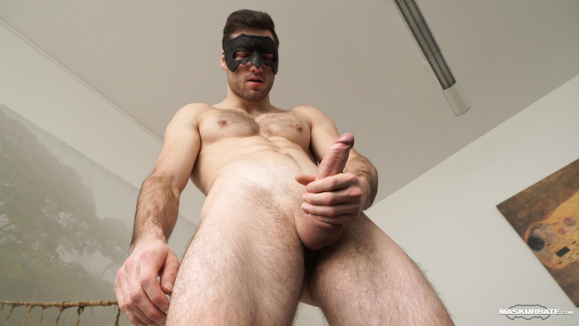 Maskurbate-Sam-Cuthan-Straight-Naked-Hairy-Muscle-Guy-Jerk-off-14 Straight Masked Hairy Muscle Hunk Strokes His Big Uncut Cock