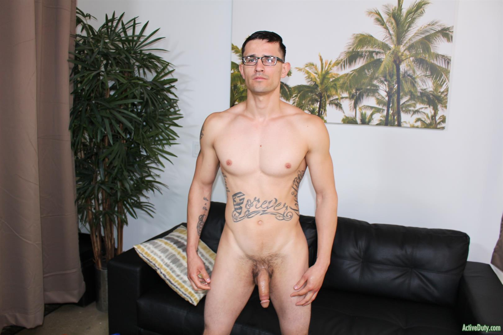 Active-Duty-Woody-Johnson-Naked-Military-Guy-Jerking-Off-Big-Cock-10 Soldier Auditions For Gay Porn And Strokes A Big Load Out
