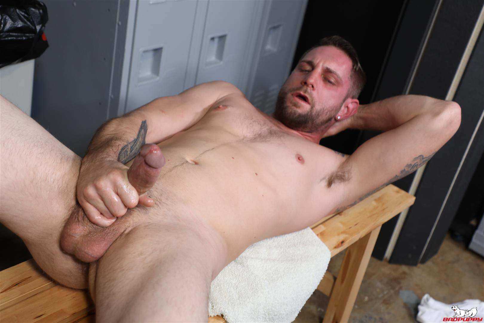 Badpuppy-Matt-Wingman-New-Yorker-With-A-Big-Cock-Jerking-Off-13 Sexy New Yorker Jerks Off His Big Cut Cock In The Locker Room